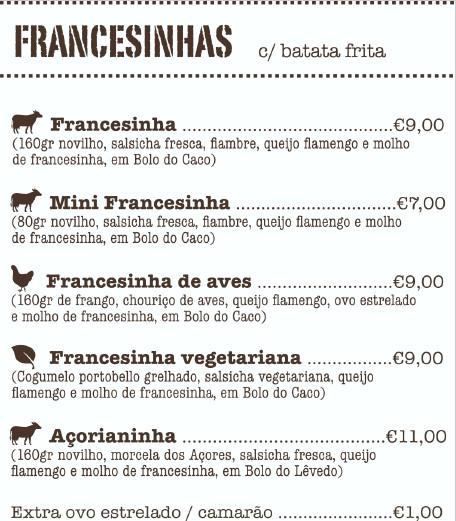 menu hamburgueria porto português